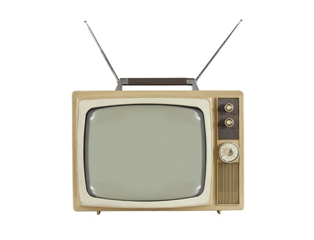 screen tv: 1960s portable television with antennas up.  Isolated on white. Stock Photo