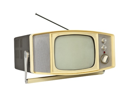 Little 1960's Portable TV with handle stand and antenna. Stock Photo - 10485653