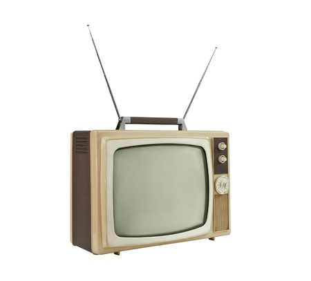 télévision portable de 1960 avec des antennes up - angle de côté.  Isolé sur fond blanc.