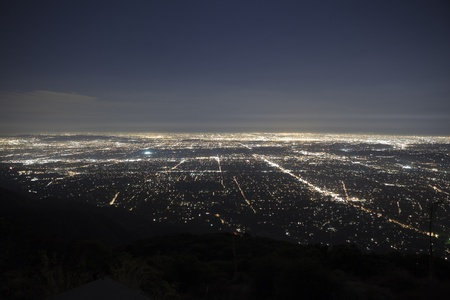 The lights of Los Angeles and Pasadena.  Shot from the top of Echo Mtn in the Angeles National Forest. Stock Photo - 10485650