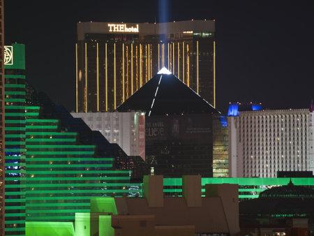 luxor: Las Vegas, Nevada, USA - September 7, 2011:  Night view towards the Las Vegas strip in southern Nevada. Editorial