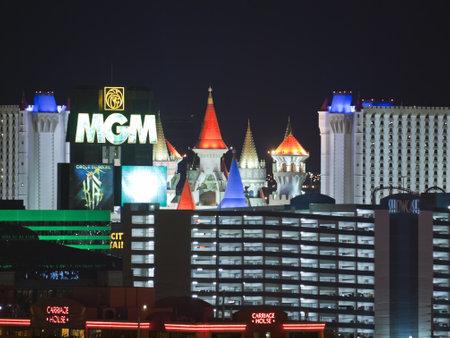 Las Vegas, Nevada, USA - September 7, 2011:  Night view towards MGM Resort and the Las Vegas strip in southern Nevada. Stock Photo - 10558587