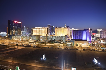 Las Vegas, Nevada, USA - September 7, 2011:  Night view towards the Las Vegas strip in southern Nevada. Stock Photo - 10559218