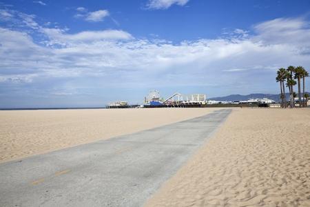 Famous Santa Monica beach bike path and amusement pier. photo