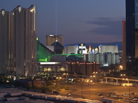 Las Vegas, Nevada, USA - September 7, 2011:  Dusk view towards the MGM and other resorts on the Las Vegas strip in southern Nevada. Stock Photo - 10581493