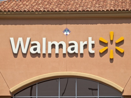 suburbian: Porter Ranch, California, USA - September 15, 2011:  Typical suburban Walmart big box store sign in afternoon light.