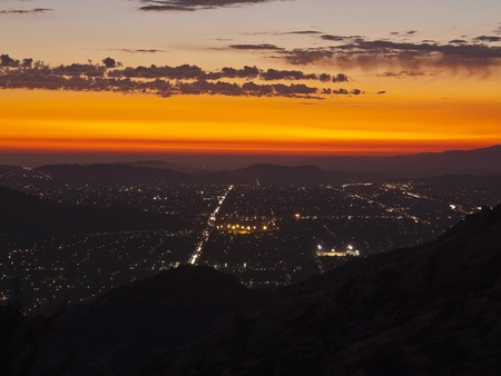 Simi Valley in Southern California at night.  Shot from Rocky Peak Park Stock Photo