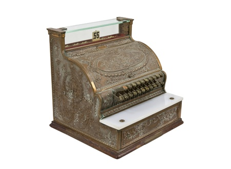 checkout button: Vintage bronze cash register isolated on white. Stock Photo