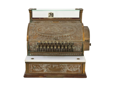 Vintage 1920's cash register isolated on white. Stock Photo - 10702362