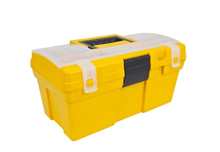 home maintenance: Bright yellow home maintenance tool box isolated on white.