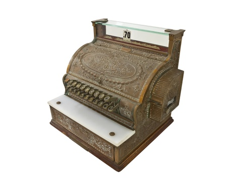 checkout button: Old brass cash register from the 1920s.