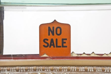 Vintage 1920s cash register no sale pop up sign.