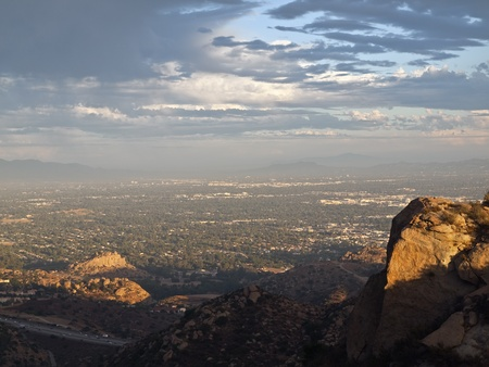 Stoney Point and Los Angeless San Fernando Valley on a stormy afternoon.   photo
