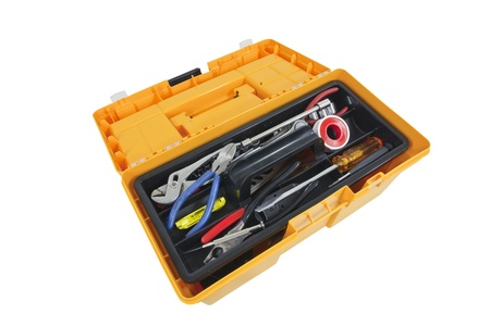 plastic box: Open house hold tool box with a variety of tools. Stock Photo