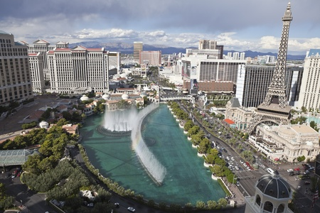 Las Vegas, Nevada, USA - October 6, 2011:  Afternoon storms above the famous Ballagio fountains on the Las Vegas strip in southern Nevada.