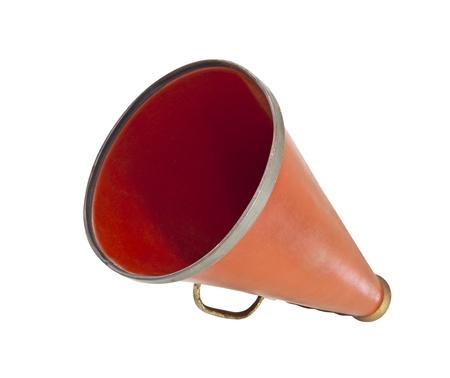hombre megafono: Meg�fono de la vendimia de la d�cada de 1920 aislados en blanco. Foto de archivo