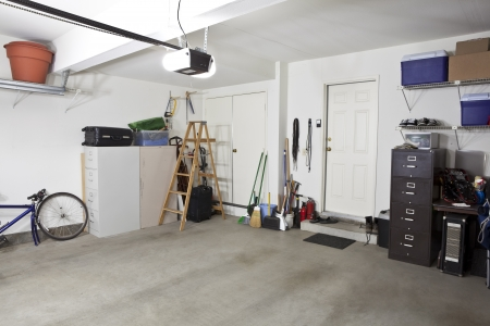 Clean empty swept interior suburban garage. photo