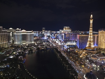 Las Vegas, Nevada, USA - October 6, 2011:  Night view towards Bellagio, Paris, Caesars Palace and other resorts on the Las Vegas strip in southern Nevada.