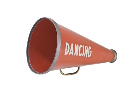 Vintage megaphone with dancing stencled on the side.   Stockfoto