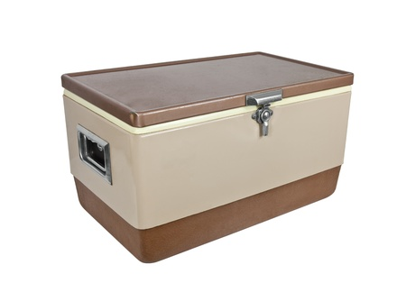 ice chest: Vintage ice chest cooler from the 1970s isolated on white.