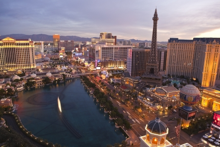 Las Vegas, Nevada, USA - October 7, 2011:  Warm sunrise light on Caesars Palace, Paris, the Flamingo and other resorts along the Las Vegas strip in southern Nevada. Stock Photo - 10950528