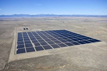 solar array: Solar farm in the middle of a vast North American Desert  Editorial
