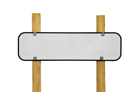 Blank reflective highway message sign on wooden posts. Stock Photo - 11304985