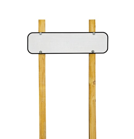 sign post: Blank reflective highway message sign on wooden posts. Stock Photo
