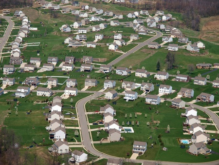 suburbs: Newly built middle class suburban housing in the Eastern United States Stock Photo