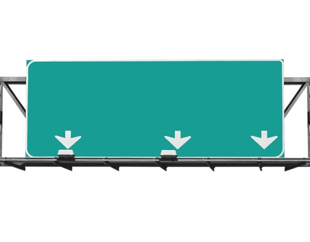 Blank freeway sign isolated on white.   스톡 콘텐츠