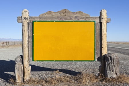 Western style blank highway message sign. photo