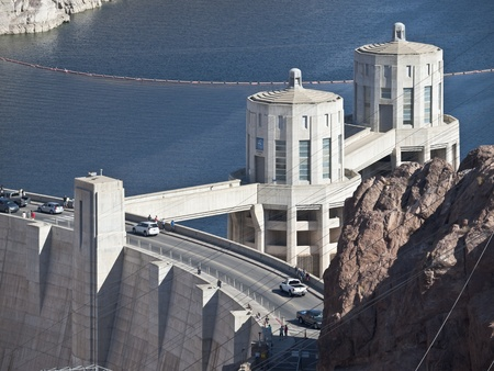 Hoover Dam, Nevada, USA - October 16, 2010:  Tourists and traffic on America