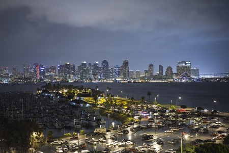 San Diego, California, USA - March 23, 2011:  Rain soaked San Diego Harbor in Southern California.