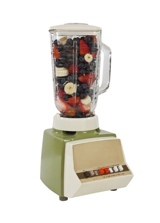 Vintage blender with blueberry, strawberry, banana smoothie mix. Stock Photo - 11813674
