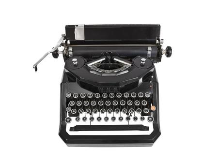 Vintage typemachine geïsoleerd op wit. Stockfoto