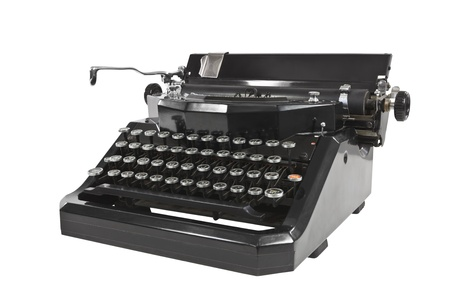 Vintage black typewriter isolated on white. photo