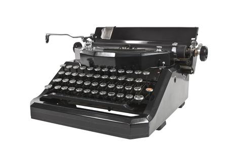 Vintage zwarte schrijfmachine geïsoleerd op wit. Stockfoto