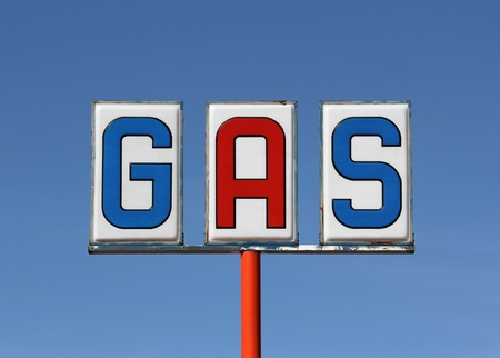 Vintage highway gas sign in the Mojave Desert.   Stock Photo - 12428537