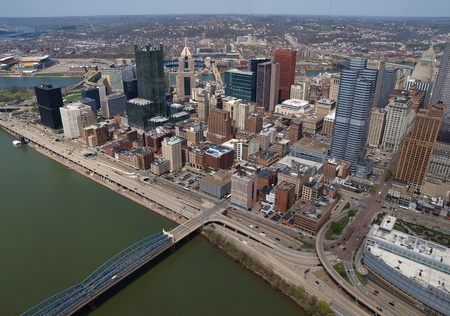 Pittsburgh, Pennsylvania downtown cityscape aerial. Stock Photo - 12256366