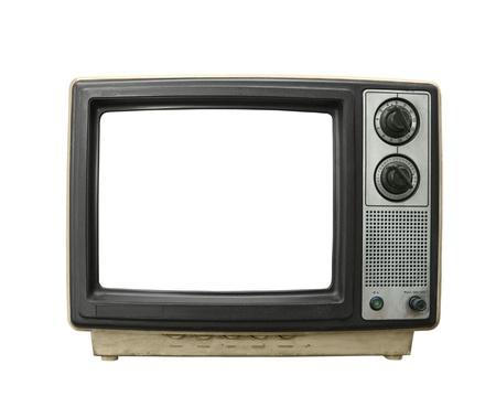 흰색에 고립 된 숨겨진 화면 지저분한 오래 된 TV 세트.