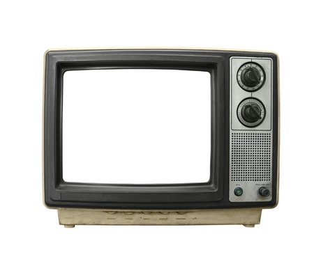 Grungy old TV set with blanked screen isolated on white. photo