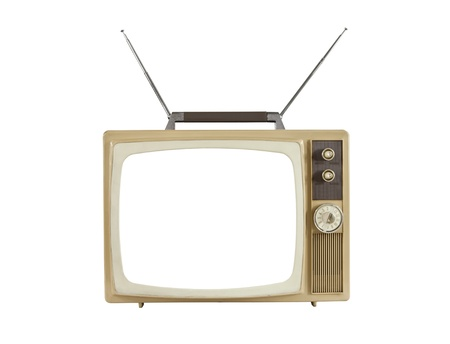 1960s blank screen portable television with antennas up.  Isolated on white. photo