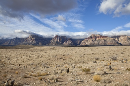 mojave desert: Spring storms roll over Red Rock National Conservation Area in Southern Nevada. Stock Photo