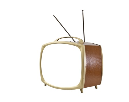 1950's portable television with blank screen and antennas up isolated. Stock Photo - 12428563