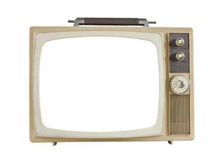 Vintage 1960s portable television with cut out screen, isolated on white. photo