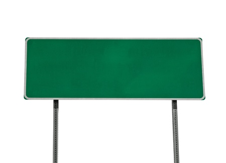 placa: Green highway sign isolated on white.