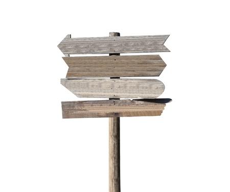 오래 된 빈 나무 화살표를 흰색에 고립 방향 기호. 스톡 콘텐츠