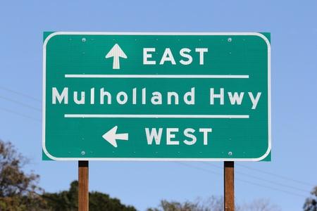 Mulholland Highway sign near Los Angeles California  Stock Photo - 12734643