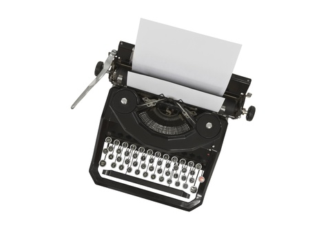 Vintage typewriter with blank paper isolated on white. Stockfoto