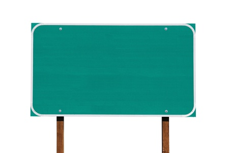 sign post: Big blank green highway sign isolated on white.